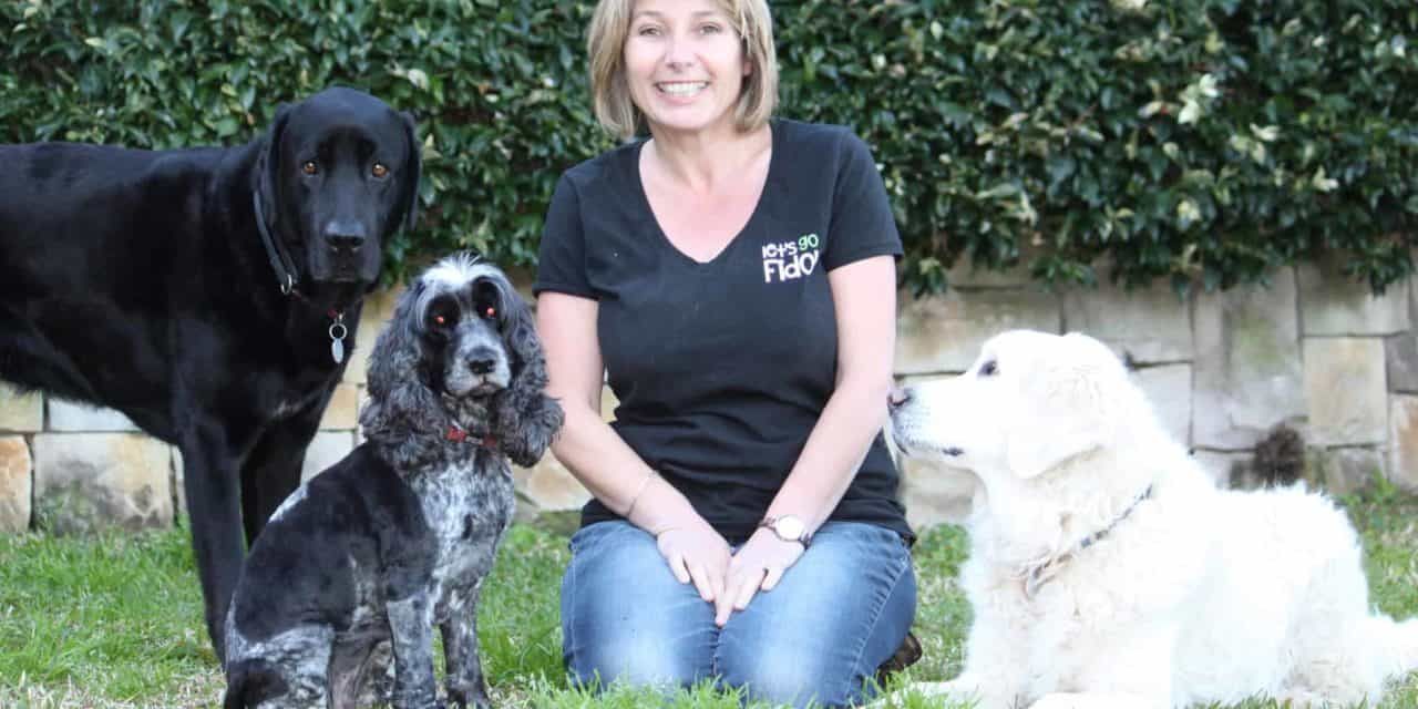 Positive dog trainer Louise Newman and her 3 dogs