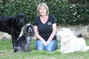 Lou Newman with her 3 dogs