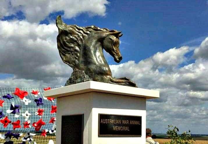Australian WWI war animals memorial in Pozieres.