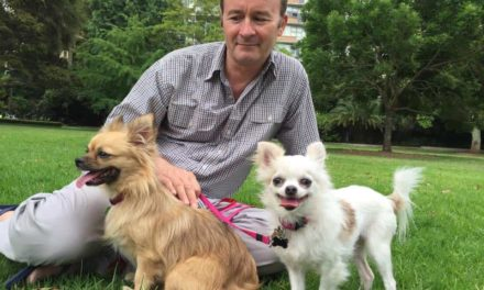James Dorahy and his two adopted Chihuahuas