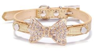 Dog Christmas gifts dog gold bow collar
